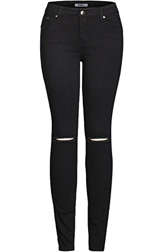 2LUV Women's Solid Stretchy 5 Pocket Distressed Skinny Jeans  Black 17