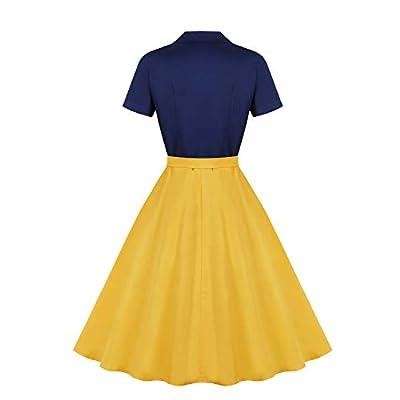Wellwits Women's Sailor Navy Yellow Halloween Princess Vintage Shirt Dress at  Women's Clothing store