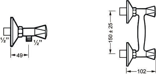 2 ruletas Cornat LI3 Grifo para ducha