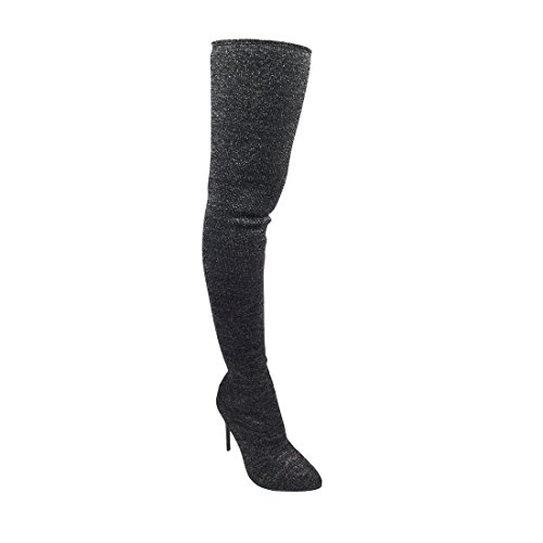 Alva Anna Landon Frauen Oberschenkel Hohe Stiefel Stretchy Snug Fit Socke Overknee Heel Schuhe Schwarz