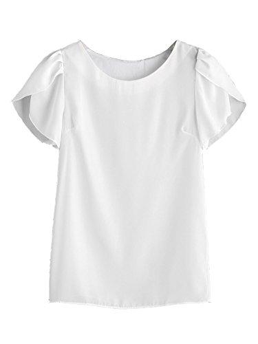 Blouse Short - Milumia Women's Round Neck Short Split Sleeve Chiffon Blouse Shirt Tops White Large