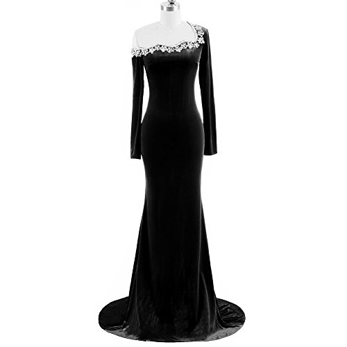 Court Cocktail - Lanbaodress Jewel Neck Court Train Velvet Formal Evening Dress With Beading Prom Cocktail Party Dress 22W Black