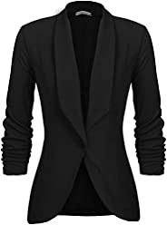 Uni-Wert Women's Blazer Casual Business Lapel Stretchy Ruched 3/4 Sleeve Open Front Work Office Ja