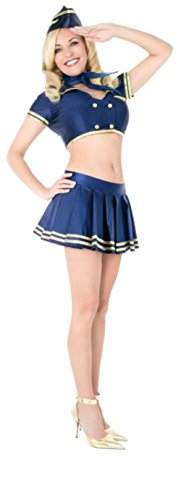 Playboy Womens Classic Stewardess Flight Attendant Retro Outfit Sexy Costume, Medium (Stewardess Costume Plus Size)
