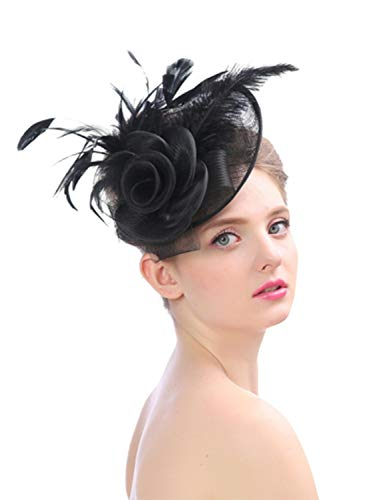 - Fascinators Hat for Women Tea Party Headband Flower Mesh Feathers Kentucky Derby Hair Clip Hat for Wedding Cocktail (3#Black)