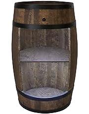 Houten vat huisbar met LED-verlichting - wijnkast in retro stijl - wijnvat bar - wijnrek hout - houten bar 80 cm hoog - elegante meubels, woonkamer decoratie - te gebruiken statafel en flessenstandaard (wengé)