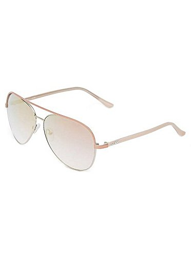 Guess GU 7441 Womens Aviator Pink Silver Mirror Sunglasses