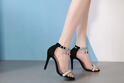 Colgante Zapatos Feng Para De Black Sandalias Color Cuentas Shui Perlas Con Étnicas Mujer 1pSgxn