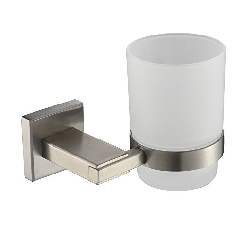 KES Lavatory Single Glass Tumbler with SUS304 Stainless Steel Holder Wall Mount, Brushed Finish, A2450-2