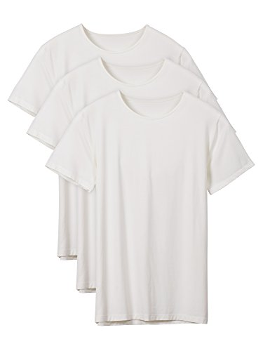 Modal Micro Sleeveless - David Archy Men's 3 Pack Soft Comfy Bamboo Rayon Undershirts Breathable Crew Neck Slim Fit Tees Short Sleeve T-Shirts (S, Ivory)