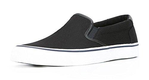 ZXD SlipOnVIII - Zapatilla Skater Mocasin Plimsole Sin Logotipo Loneta Verano Transpirable Suela Unisex Negro
