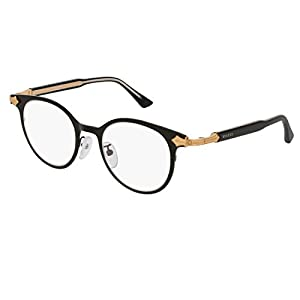 Gucci GG 0068O 001 Black Gold Titanium Round Eyeglasses 49mm