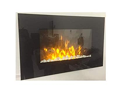Terrific Truflame 2019 Led Wall Mounted Flat Glass Electric Fire With Pebble And Log Effect And 7 Colour Side Leds 90Cm Wide Interior Design Ideas Gentotthenellocom