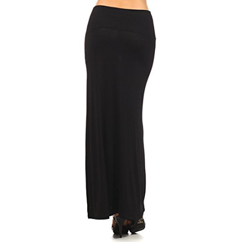 durable modeling Solid Black Maxi Skirt with Banded Waist ...