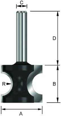 Di/ámetro semicircular /Ø22,3mm Mango D 32 mm B 17,9 mm C 22,3 mm ENT Fresa semicircular HW A R 4,76 mm 8 mm
