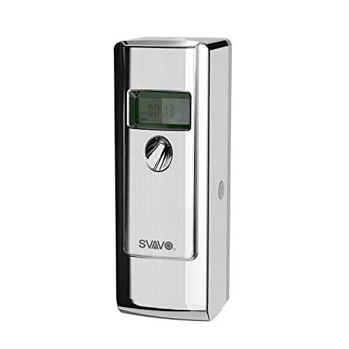 SVAVO VX485D ABS Plastic LCD Display Automatic Aerosol Spray Air Freshener Dispenser By Timer, Chrome, Pack of 1