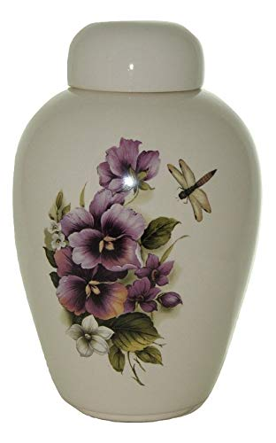 Pansy Funeral Dragon Fly Urn - Cremation Urn for Human Ashes - Hand Made Pottery (185 Cubic Inches 10 1/2