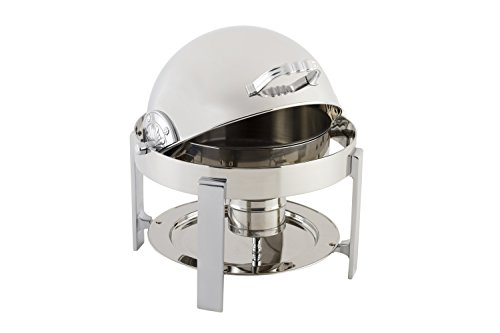 """Bon Chef 20014CH Stainless Steel Petite Round Chafing Dish with Contemporary Legs, Chrome Trim Finish, 3 quart Capacity, 14"""" Diameter x 15"""" Height"""