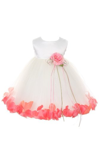 Satin Bodice Flower Baby Girl Pageant Petal Dress: Ivory/Coral Infant S