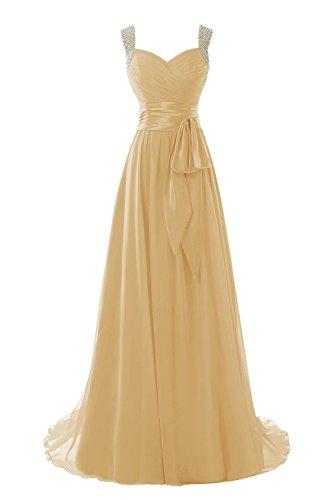 Dora Bridal Women S Straps Chiffon Beaded Dress Long Prom Gown Gold