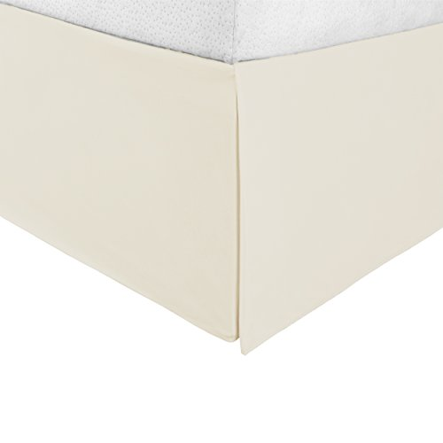 """(Superior Infinity Luxury Soft 100% Brushed Microfiber Tailored Bed Skirt with 15"""" Drop, Wrinkle Resistant with Pleats and Split Corners - King Bedskirt, Ivory)"""