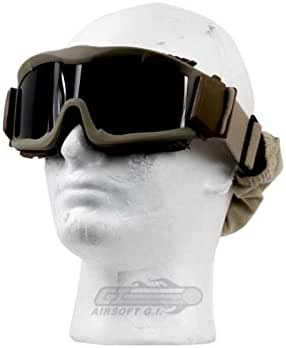 Lancer Tactical CA-223T Vented Safety Airsoft Goggles w/ Interchangeable Multi Lens Kit (Desert Tan), Includes Smoked, Clear, & Yellow Lens