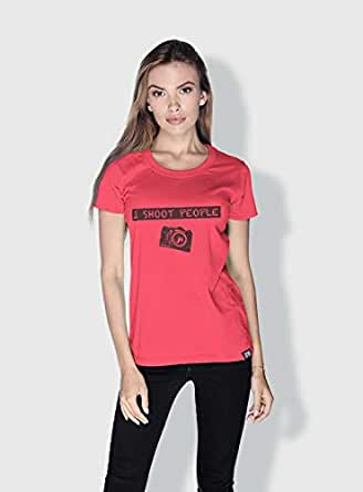 Creo I Shoot People Funny T-Shirts For Women - S, Pink