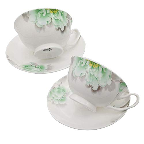 FINECASA White Bone China 6.8 Oz Coffee/Tea cup and Saucer Chinese Style Teacups Set of 2 ()