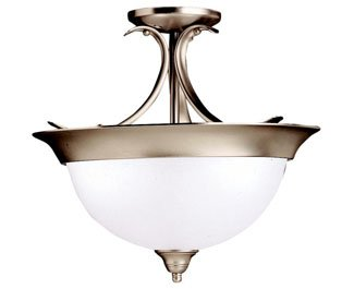 Kichler 3623NI Dover Round Glass Semi Flush Ceiling, 3-Light, Brushed Nickel