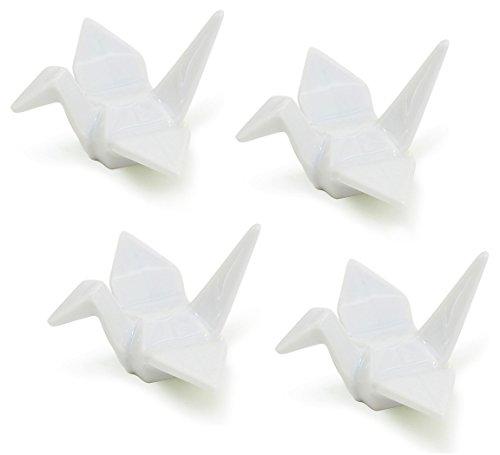 Happy Sales HSCRCRN4, set of 4 White Porcelain Crane Rests / Chopstick Rest set