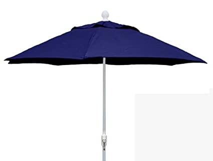 FiberBuilt Umbrellas Patio Umbrella, 7.5 Foot Navy Canopy And White Pole