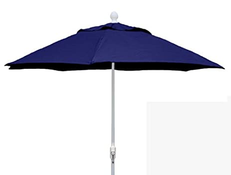 Superior FiberBuilt Umbrellas Patio Umbrella, 7.5 Foot Navy Canopy And White Pole