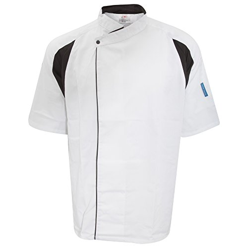 Le Chef Unisex Staycool Executive Short Sleeved Tunic (M) (White/Black) by Le Chef