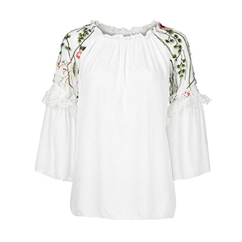 Women Blouse T Sleeve Neck Floral Blue Flare Shirt Blouse Pink Embroidery Black Long Top Lace XOWRTE White White Sleeve O SW1I5wq8nn