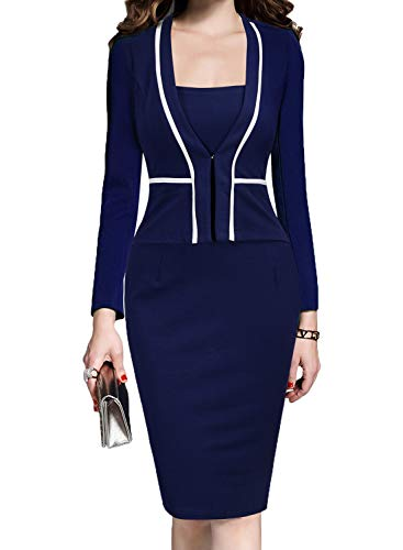 MUSHARE Womens Colorblock Wear to Work Business Party Bodycon One-Piece Dress