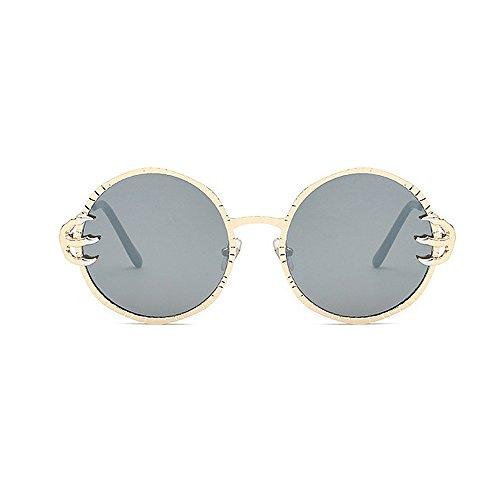 gafas Cool de Unisex Gafas hombres lente PC Wolves para Retro mujeres Style Protección Gafas redondo de y sol de Garra Punk sol para Viajar UV Metal sol Decoración Plata retro esqu de conducir Frame Gafas 6nR4Fn