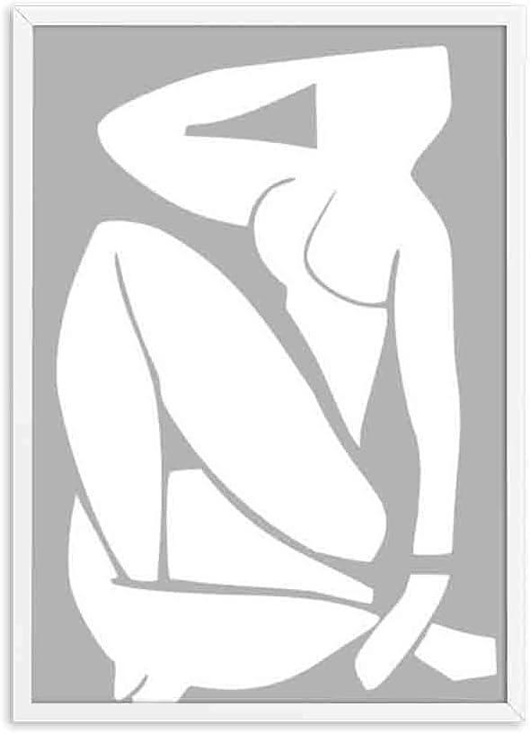 Resumen ilustración mínima pared arte impresión cartel retro colorido mujer cuerpo pared cuadro sin marco lienzo pintura A5 20x30 cm