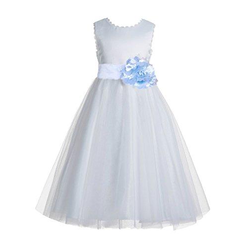 ekidsbridal V-Back Lace Edge White Flower Girl Dresses Ice Blue Baptism Dress Birthday Girl Dress Ball Gown 183T -