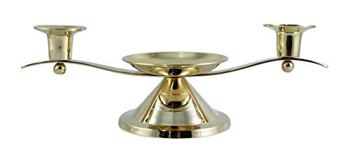 Gold Toned Unity Candle Holder for Wedding Ceremony, 12 Inch ()