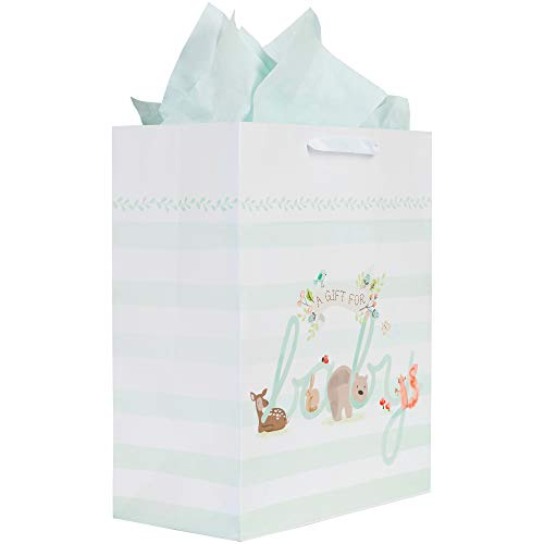 (C.R. Gibson Woodland Creatures Large Baby Gift Bag with Tissue Paper, 12.5'' x 10.25'' x 4.25'')