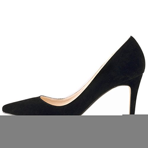Pointed Toe Velvet Mid Heel Block Heels Kitten Pumps Shoes Women Ladies Black - 6