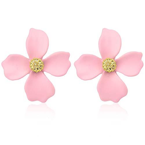 Wowanoo Enamel Earrings Boho Petal Flower Earrings Vintage Statement Earring for Women Pink