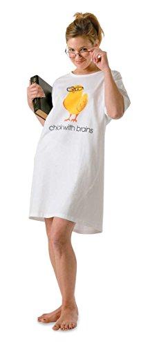 ComputerGear Nightshirt Nightgown Sleepshirt Geek Nerd Chick Brains Womens Tee,White,One Size Fits Most