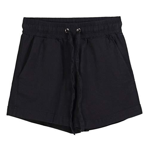 BAOHOKE Comfort Elastic Band Pocket Hot Pants for Women Casual Drawstring Wide Leg Solid Color Shorts(Black,XXXL) ()