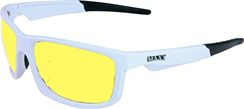 Night Driving Glasses with Sheer Vision Yellow Polycarbonate Double Sided Anti-reflective Coating - Ergonomic, Stylish Retro White Frame Color - Also Comes with Replaceable Maxx Hd - Reflective Retro Coating