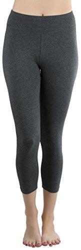 ToBeInStyle Women's Cotton-Spandex Capri Leggings - Charcoal - Small