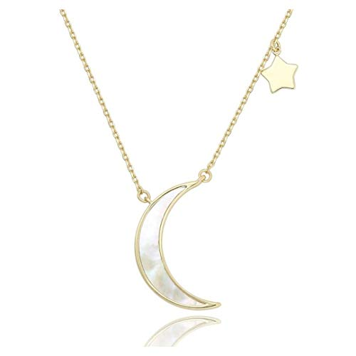 14k Gold Plated Moon and Star Necklace   Abalone Shell Gold Layering Jewelry