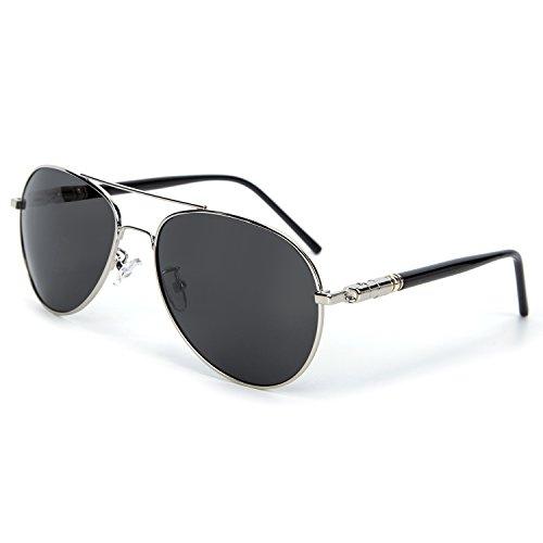 YJMILL New Polarized Sunglasses Retro Pilots Riding Fishing Golf Travel Sports Sunglasses Men 209 (Silver, - De Armazones Lentes