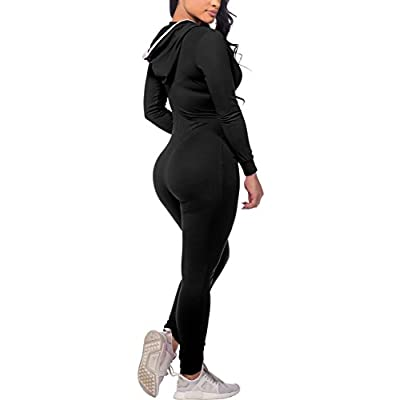 CoolooC Jumpsuits for Women Hoodie Long Sleeve Bodycon Black Jumpsuits Sexy Onesies Romper Bodysuits Outfits Red: Clothing