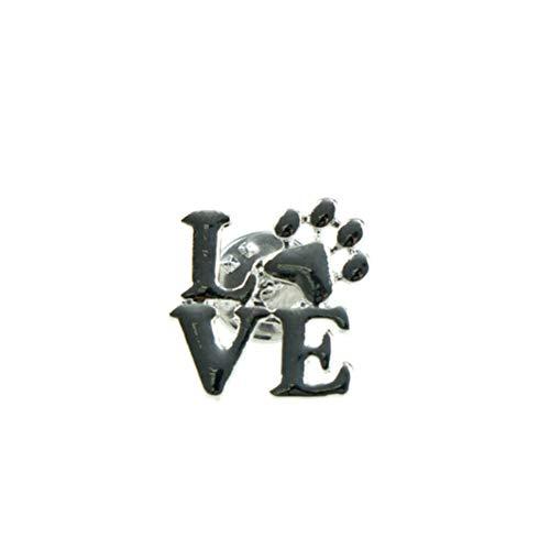 Love Dog cat paw Print pins Brooch Pet Memorial Jewelry Keepsake Jewelry CA (Color - Sliver)